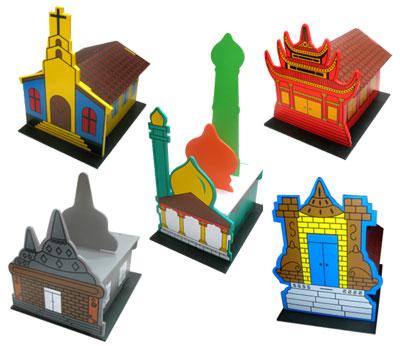 Maket Rumah Ibadah 3D SET :: mainan-kayu.com