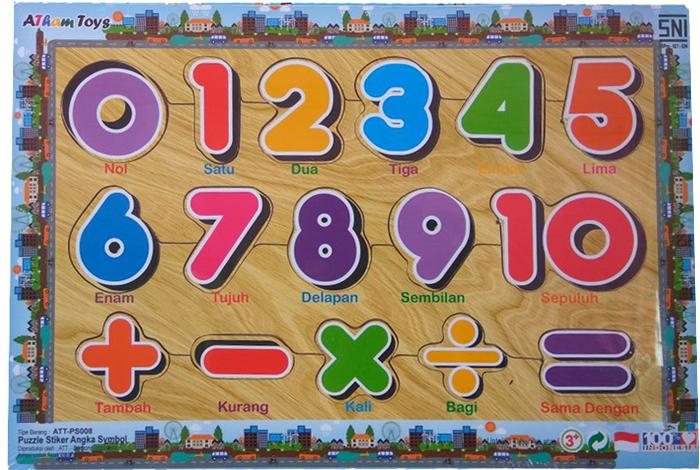 Puzzle stiker angka symbol