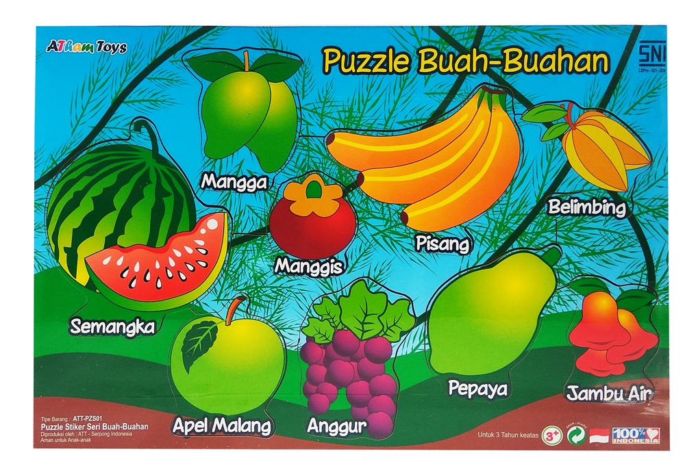 Puzzle stiker seri buah buahan