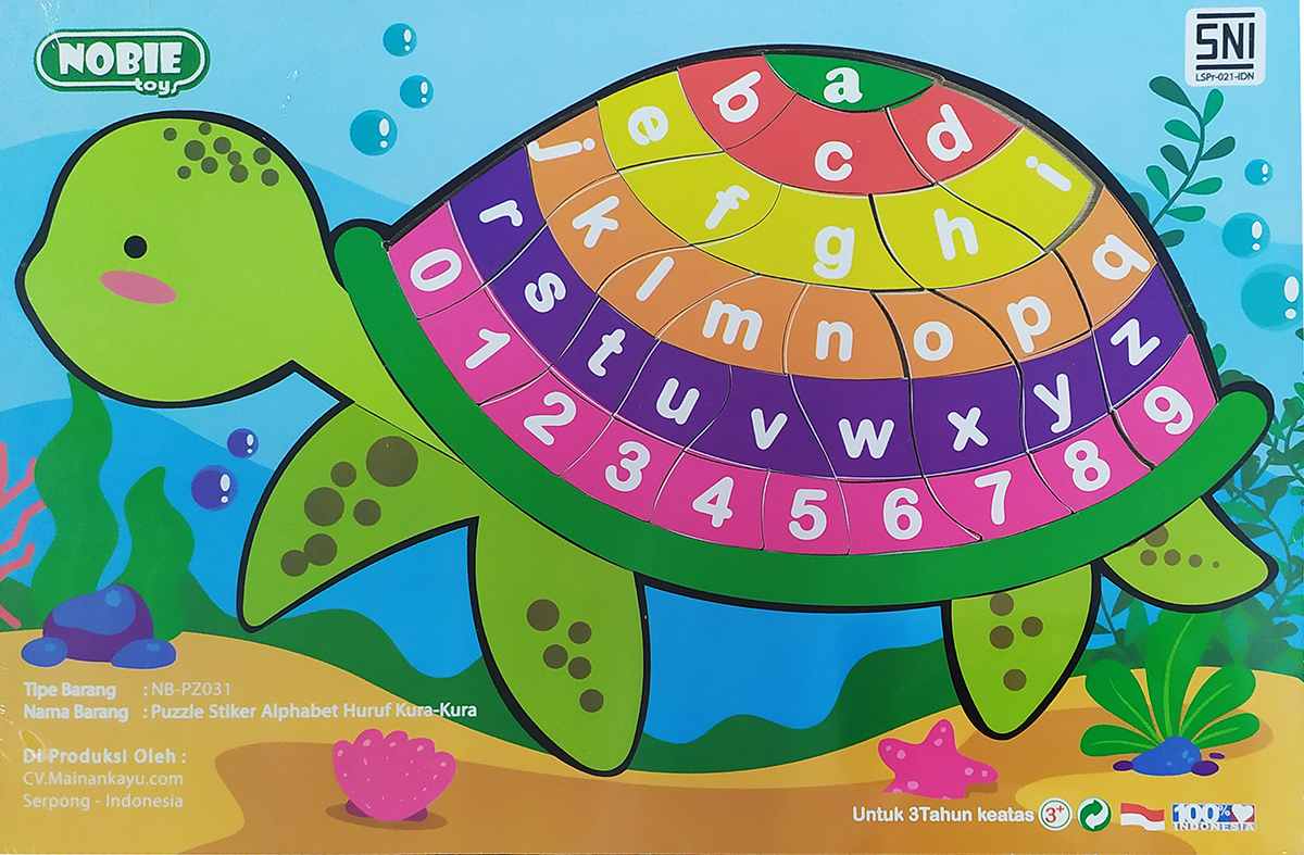 Puzzle Stiker Alphabet Angka Kura Kura